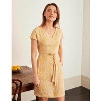 Lara Linen Dress Tuscan Sun, Tropical Leaf Women Boden, Tuscan Sun, Tropical Leaf