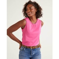 Boden Frill Jersey Vest Pink Women Boden, Multicouloured
