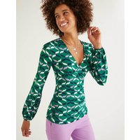 Elodie Jersey Wrap Top Green Women Boden, Multicouloured