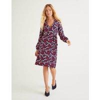 Elodie Jersey Wrap Dress Navy Women Boden, Multicouloured