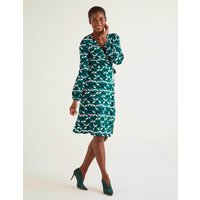 Elodie Jersey Wrap Dress Green Women Boden, Multicouloured