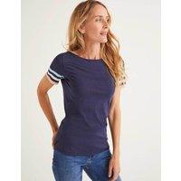 Short Sleeve Striped Cuff Tee Navy Women Boden, Multicouloured