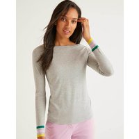 Boden Striped Cuff Tee Grey Women Boden, Grey