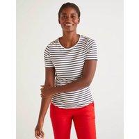 Boden Supersoft Short Sleeve Tee Ivory Women Boden, Navy