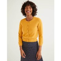 Cashmere Crop Crew Cardigan Yellow Women Boden, Yellow