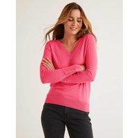 Boden Eldon Cotton V-neck Jumper Pink Women Boden, Camel