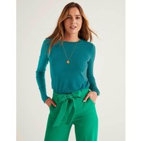 Eldon Cotton Jumper Blue Women Boden, Turquoise