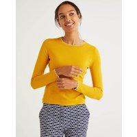 Suffolk Cotton Scallop Jumper Yellow Women Boden, Yellow