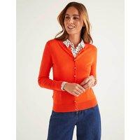 Eldon Cotton Crew Cardigan Orange Women Boden, Orange