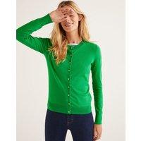 Eldon Cotton Crew Cardigan Green Women Boden, Green