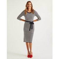Powis Pointelle Knitted Dress Navy Women Boden, Navy