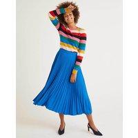 Kristen Pleated Skirt Blue Women Boden, Blue