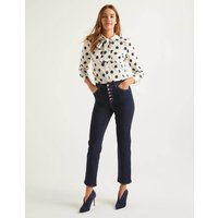 Button Fly Straight Jeans Denim Women Boden, Indigo