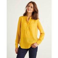 Silk Collarless Blouse Yellow Women Boden, Yellow