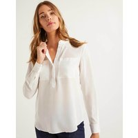 Silk Collarless Blouse Ivory Women Boden, Ivory