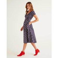 Olive Wrap Dress Navy, Polka Hoops Women Boden, Navy, Polka Hoops