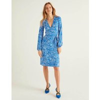 Elodie Jersey Wrap Dress Bold Blue, Floral Delight Women Boden, Bold Blue, Floral Delight