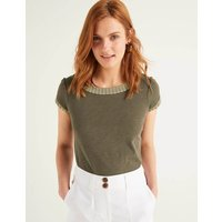 Boden Sena Embroidered Jersey Top Khaki Women Boden, Gold