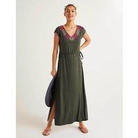 Marcia Embroidered Maxi Dress Khaki Women Boden, Khaki