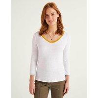 Cornelia Linen V-neck Tee White Women Boden, White