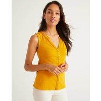 Dara Pompom Jersey Shirt Yellow Women Boden, Yellow