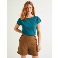 Boden Darcey Embroidered Jersey Tee Blue Women Boden, Blue