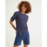 Zoe Gathered Sleeve Jersey Tee Navy Women Boden, Gold