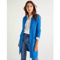 Long Textured Cotton Cardigan Blue Women Boden, Blue