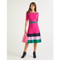 Jemima Stripe Knitted Dress Pink Women Boden, Multicouloured