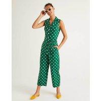 Evie Collar Jumpsuit Green Women Boden, Green