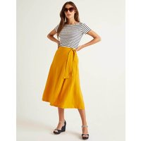 Radlett Linen Wrap Skirt Yellow Women Boden, Yellow