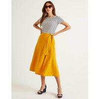 Radlett Linen Wrap Skirt Yellow Women Boden, Yellow