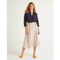 Radlett Linen Wrap Skirt Tuscan Sun Stripe Women Boden, Tuscan Sun Stripe
