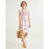 Laura Linen Embroidered Dress White Women Boden, White
