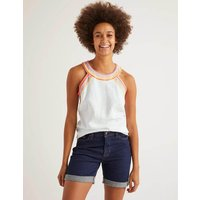 Dollie Embroidered Linen Top White Women Boden, White