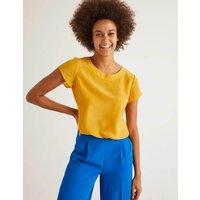 Polly Silk T-Shirt Yellow Women Boden, Yellow
