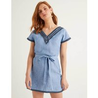 Rowan Embroidered Linen Kaftan Chambray Women Boden, Blue
