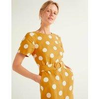 Hazel Belted Linen Dress Yellow Women Boden, Yellow