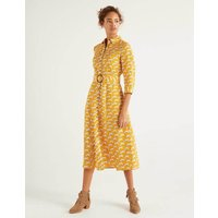 Olivia Linen Shirt Dress Yellow Women Boden, yellow