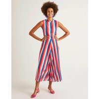 Jocelyn Pleated Midi Dress Bold Blue, Camellia Stripe Women Boden, Bold Blue, Camellia Stripe