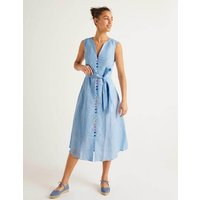 Cecilia Linen Dress Blue Women Boden, Blue