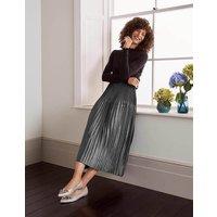 Cassidy Pleated Skirt Pewter Metallic Women Boden, Pewter Metallic