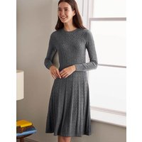Boden Erica Cable Knitted Dress Grey Christmas Boden, Grey