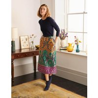 Romaine Jacquard Midi Skirt Gold Women Boden, Gold