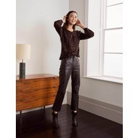 Kitty Smocked Neck Blouse Black and Copper Clip Spot Women Boden, Black and Copper Clip Spot