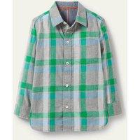 Casual Twill Shirt Grey Marl/Green Boden, Grey Marl/Green