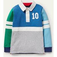 Rugby Shirt Elizabethan Blue/Green Boys Boden, Elizabethan Blue/Green