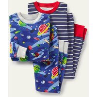 Twin Pack Snug Pyjamas Bright Blue Space Boden, Bright Blue Space