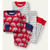 Twin Pack Snug Pyjamas Cherry Tomato Red Mammoth Boden, Cherry Tomato Red Mammoth