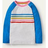 Stripe Slub Raglan T-shirt Moroccan Blue Mini Me Boden, Moroccan Blue Mini Me